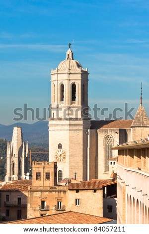 Cathedral De Girona, Spain. Vertical day shot