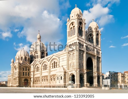 Cathedral de la Major - one of the main church and local landmark in Marseille, France - stock photo