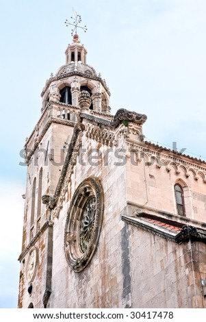 Cathedral detail in old medieval town Korcula. Croatia, Dalmatia region, Europe.