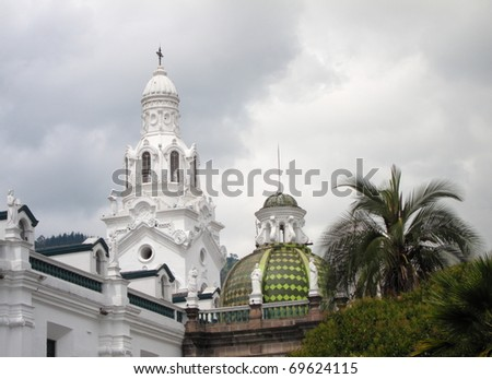 Cathedral domes in the center of old colonial part of Quito, Ecuador - stock photo