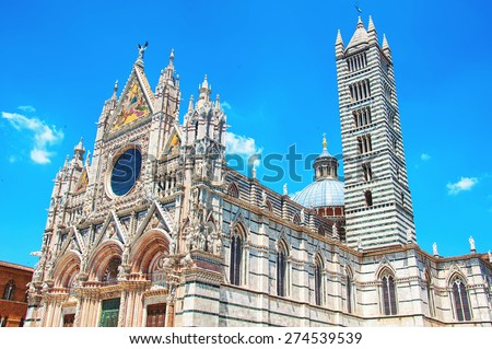 Cathedral Duomo in Siena, Italy. Popular touristic attraction in Tuscany - stock photo