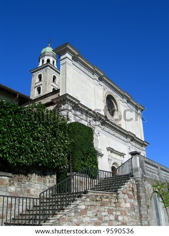 Cathedral entrance with grand stair, in the city of Lugano, Switzerland - stock photo