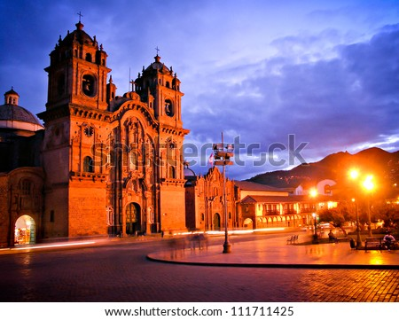 Cathedral in Cusco by night - stock photo