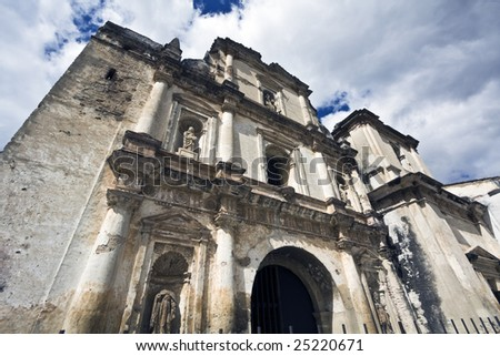 Cathedral in downtown Antigua, Guatemala. - stock photo