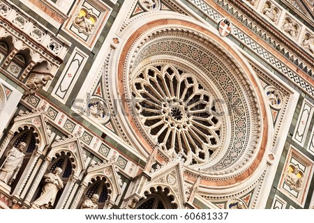 Cathedral in Florence, main facade close-up view. - stock photo