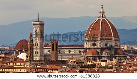 Cathedral in Florence view over city skyline. - stock photo