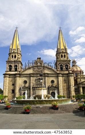 Cathedral in historic center in Guadalajara, Jalisco, Mexico - stock photo