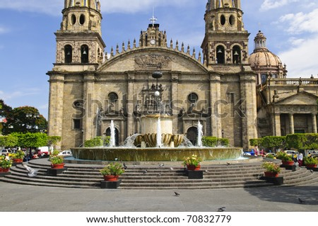 Cathedral in historic  center in Guadalajara, Jalisco, Mexico - stock photo