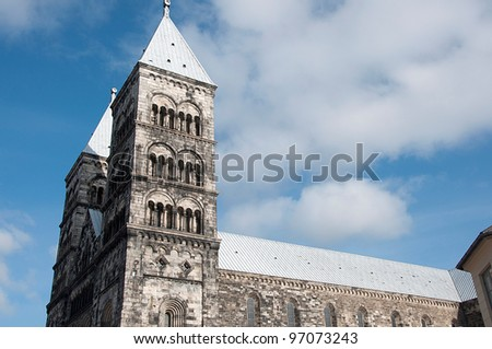 cathedral in Lund, Sweden - stock photo