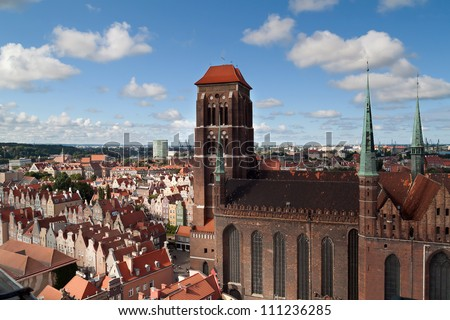 Cathedral in old town of Gdansk, Poland
