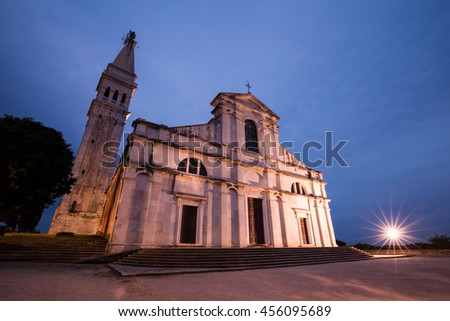 Cathedral in Rovinj, Croatia - stock photo