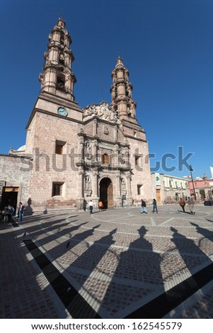 Cathedral in the ancient city Aguascalientes, Mexico - stock photo