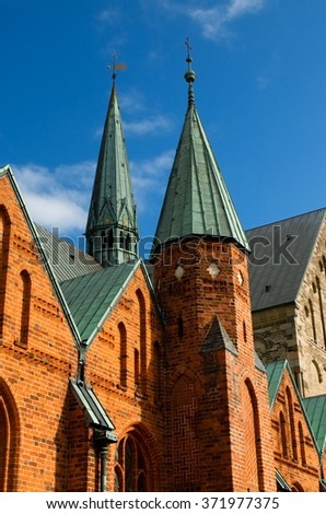 Cathedral in the Danish city Ribe - stock photo