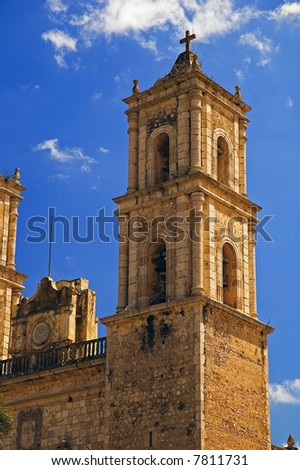 Cathedral in Valladolid in the Yucatan, Mexico - stock photo