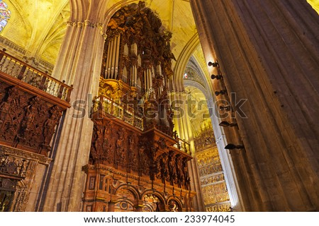 Cathedral La Giralda at Sevilla Spain - architecture religion background - stock photo