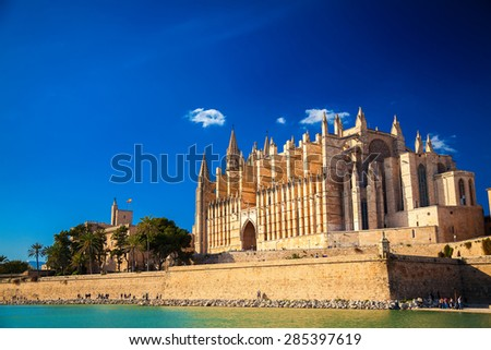 Cathedral La Seu designed in the French Gothic style, Palma de Mallorca, Spain - stock photo