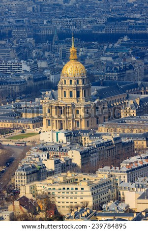Cathedral Les Invalides with Napoleon's tomb in Paris, France - stock photo