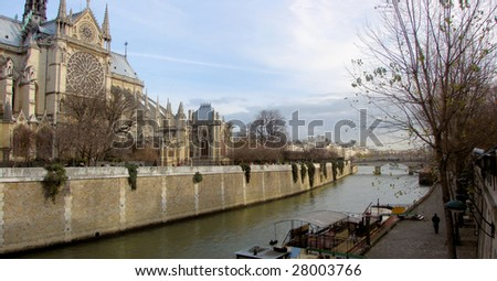 cathedral notre dame de paris and river seine, france, paris - stock photo