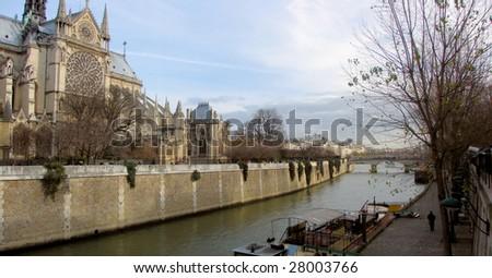 cathedral notre dame de paris and river seine, france, paris - stock photo