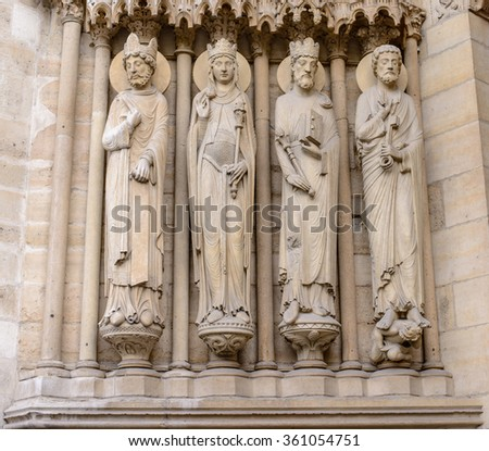Cathedral Notre-Dame de Paris - Built in French Gothic architecture, and it is among the largest and most well-known church buildings in the world. - stock photo