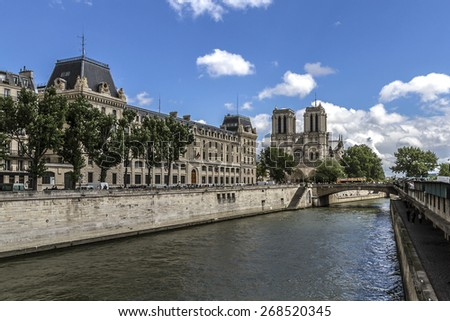 Cathedral Notre Dame de Paris is a most famous Gothic, Roman Catholic cathedral (1163 - 1345) on the eastern half of the Cite Island. France, Europe - stock photo