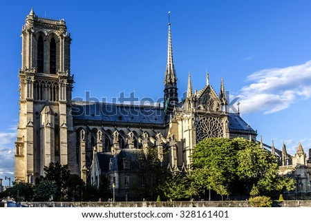 Cathedral Notre Dame de Paris - most famous Gothic, Roman Catholic cathedral (1163 - 1345) on eastern half of Cite Island. France, Europe. - stock photo