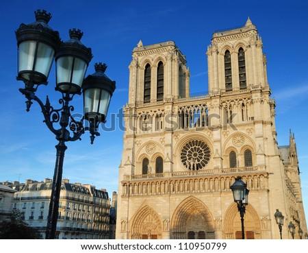 """Cathedral """"Notre Dame de Paris"""" on Cite island in Paris, France. - stock photo"""