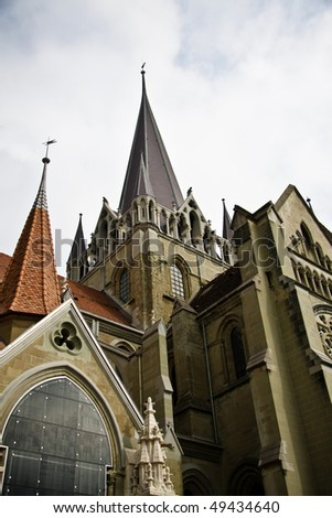 Cathedral Notre-Dame exterior, Lausanne, Switzerland - stock photo