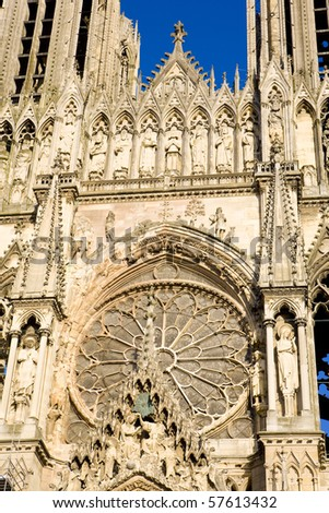Cathedral Notre Dame, Reims, Champagne, France - stock photo