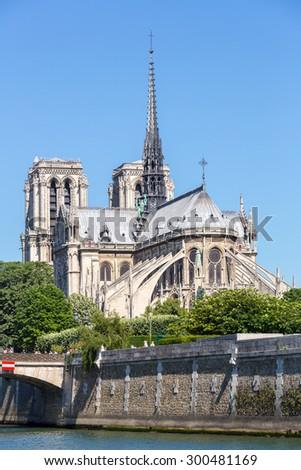 Cathedral Notre Dame Reims Champagne, River Seine, Paris, France - stock photo