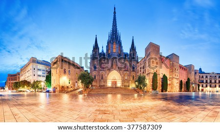 Cathedral of Barcelona, Gothic city at night, panorama. - stock photo