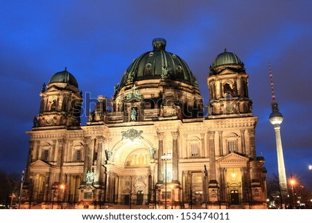 Cathedral of Berlin at night, Germany - stock photo