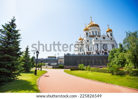 Cathedral of Christ the Savior with green trees - stock photo