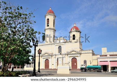 Cathedral of Cienfuegos , Cuba - stock photo