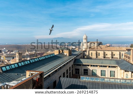Cathedral of Girona in Catalonia, Spain - stock photo