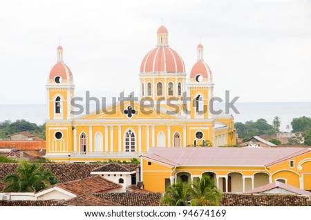 Cathedral of Granada Nicaragua Central America Spanish tile rooftops panorama - stock photo