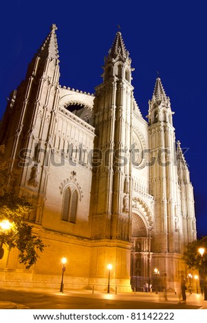 Cathedral of La Seu Majorca in Palma de Mallorca night view Balearic Islands - stock photo