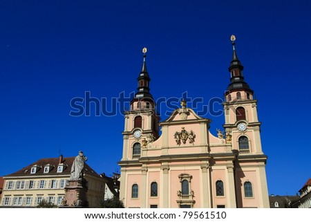Cathedral of Ludwigsburg, baroque architecture and landmark in the old town of Ludwigsburg, Germany