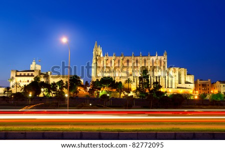 Cathedral of Majorca in palma de Mallorca car night lights at Balearic islands - stock photo
