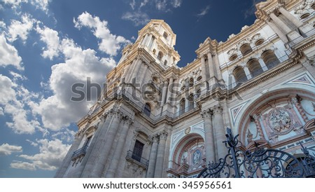 Cathedral of Malaga-- is a Renaissance church in the city of Malaga, Andalusia, southern Spain. It was constructed between 1528 and 1782; its interior is also in Renaissance style - stock photo