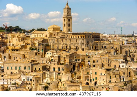 Cathedral of Matera, Puglia, Italy. The Sassi and the Park of the Rupestrian Churches of Matera. UNESCO World Heritage