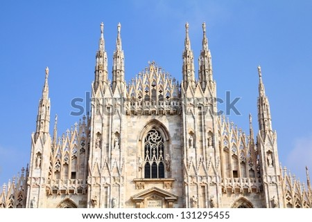 Cathedral of Milan. Catholic church in Italy. Gothic facade. - stock photo