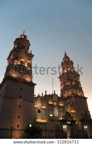Cathedral of Morelia at night, Michoacan (Mexico) - stock photo