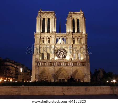 Cathedral of Notre-Dame at night