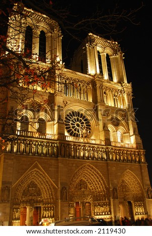 Cathedral of Notre Dame de Paris at night