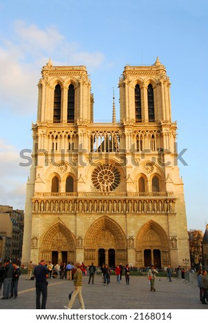 Cathedral of Notre Dame de Paris in evening sun - stock photo