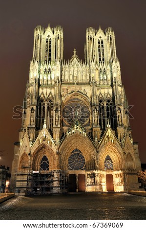 Cathedral of Notre Dame, Reims in the night - stock photo