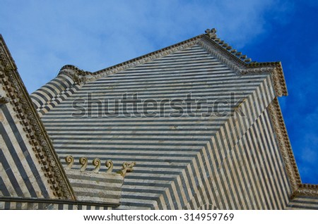 Cathedral of Orvieto (Umbria, Italy), one of the great masterpieces of the Late Middle Ages - stock photo