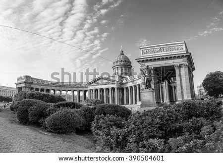 Cathedral of Our Lady of Kazan, Russian Orthodox Church with Kutuzov statue in Saint Petersburg, Russia. Black and white - stock photo