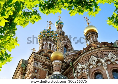 Cathedral of Our Saviour on Spilled Blood in Saint-Petersburg, Russia - stock photo